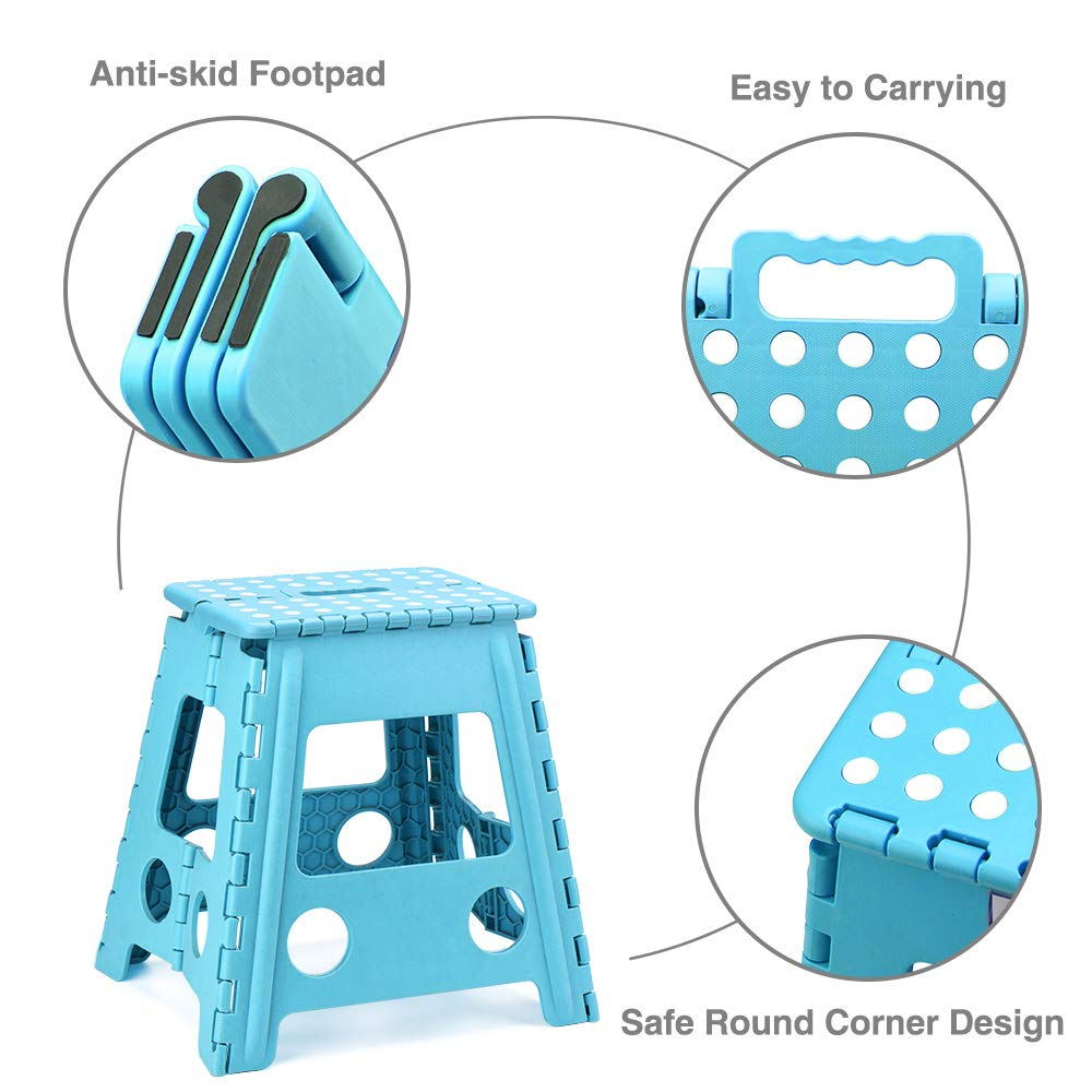 Acko 2 Pack 16 Inches Super Strong Folding Step Stool for Adults and Kids Kitchen Stepping Stools Garden Step Stool Black