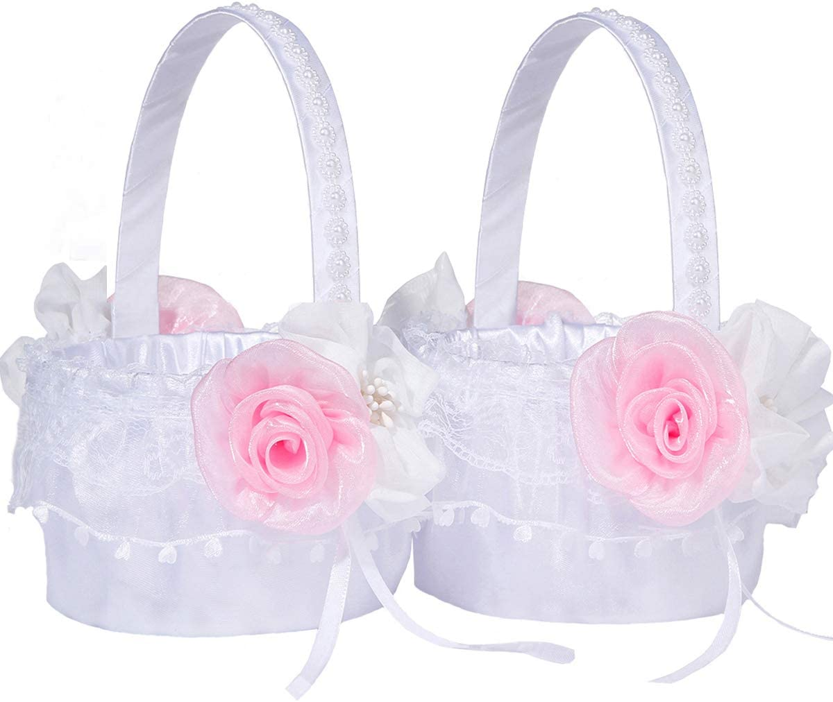 M&A Decor Flower Girl Basket for Wedding Set of 2 Elegant White Lace Basket with Pink Flowers