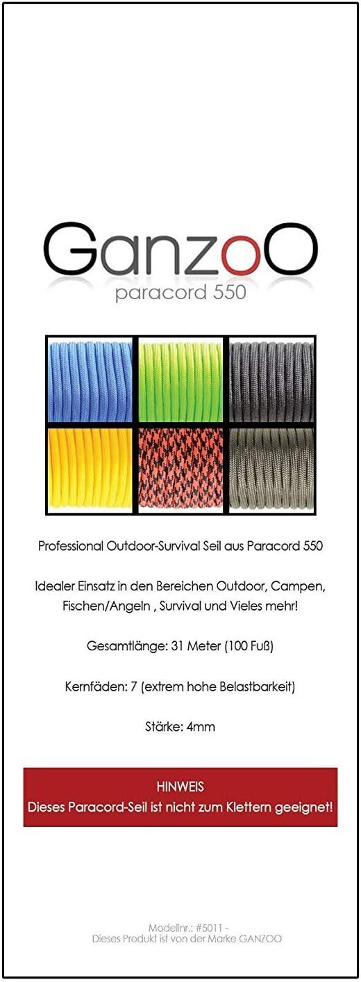 in lino Paracord 550 100/% corda in nylon colore: grigio//nero 30 m Corda per bracciali