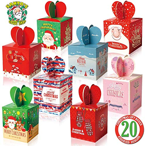 Small 3D Christmas Holiday Gift Box Set for Party Favors, Candy, Ornaments, Fruit, Toys, Baked Goods and Games – 20 pack for $<!--$11.99-->