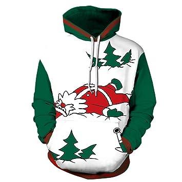 Sudadera Unisex para Navidad, Papá Noel Divertido Estampado Suéter Pullover Sudadera FEA para Fiestas De Navidad Y Varias Fiestas Navideñas (Mejor Regalo): ...