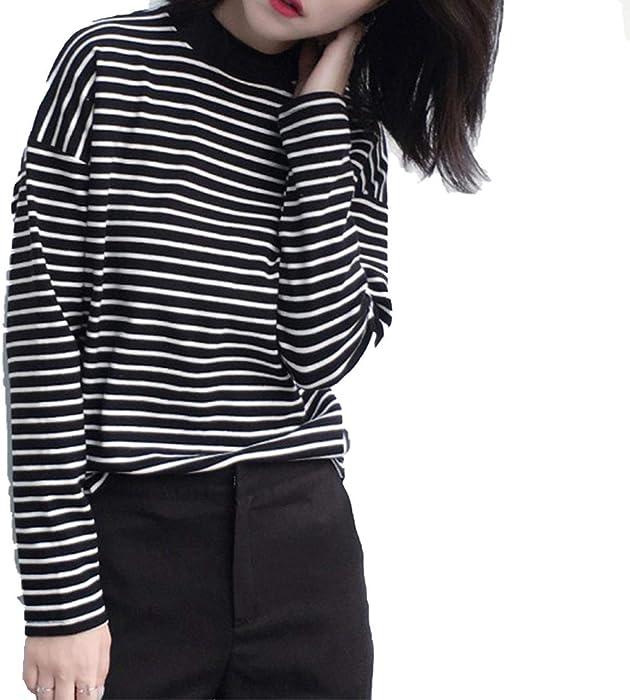 Amazon Com Women Turtleneck Korean Style T Shirt Crop Top Long