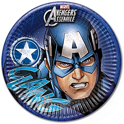 23cm Teens Marvel Avengers Assemble Party Plates, Pack of 8 featuring Captain America