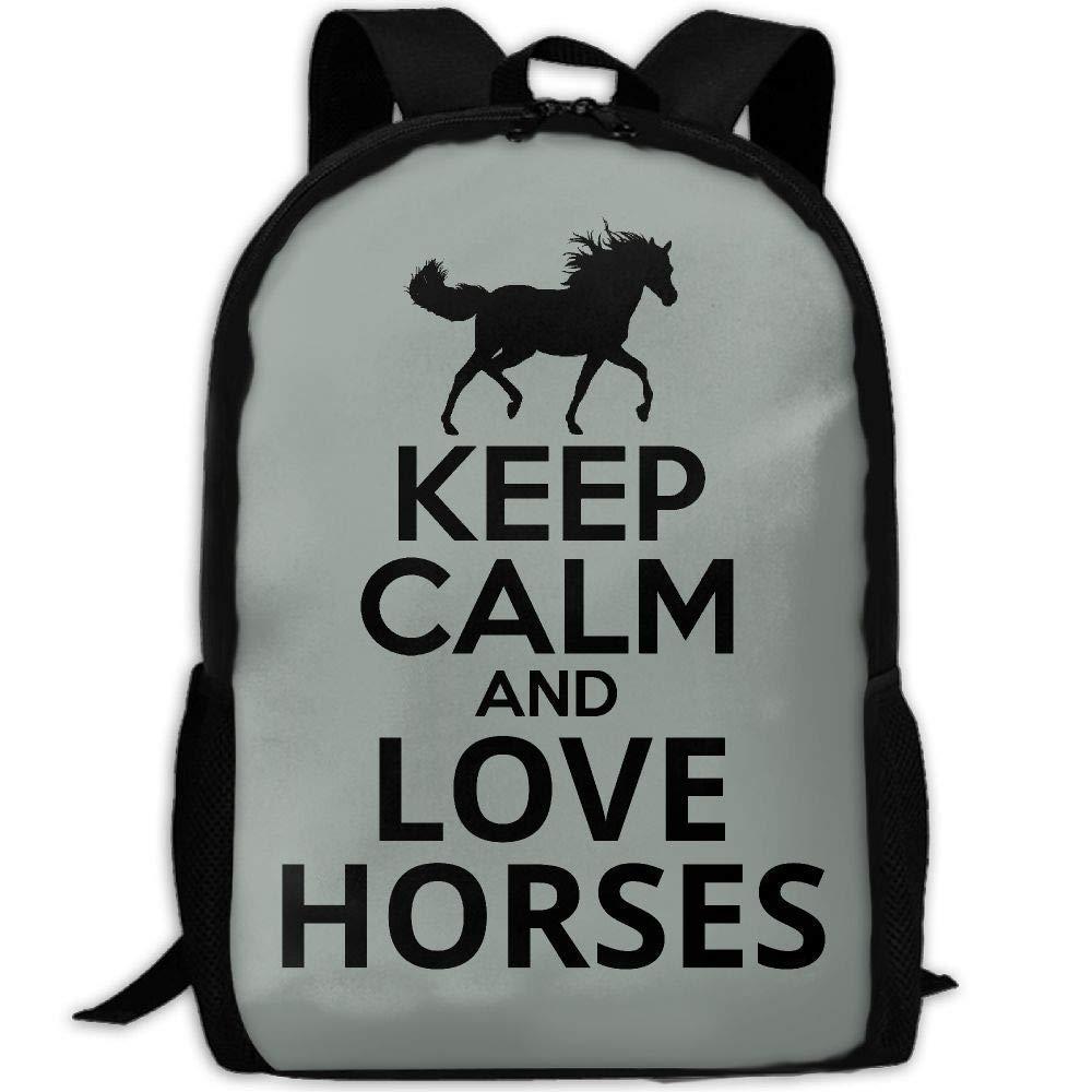 Keep Calm And Love Horses Print Custom Casual School Bag Backpack Multipurpose Travel Daypack