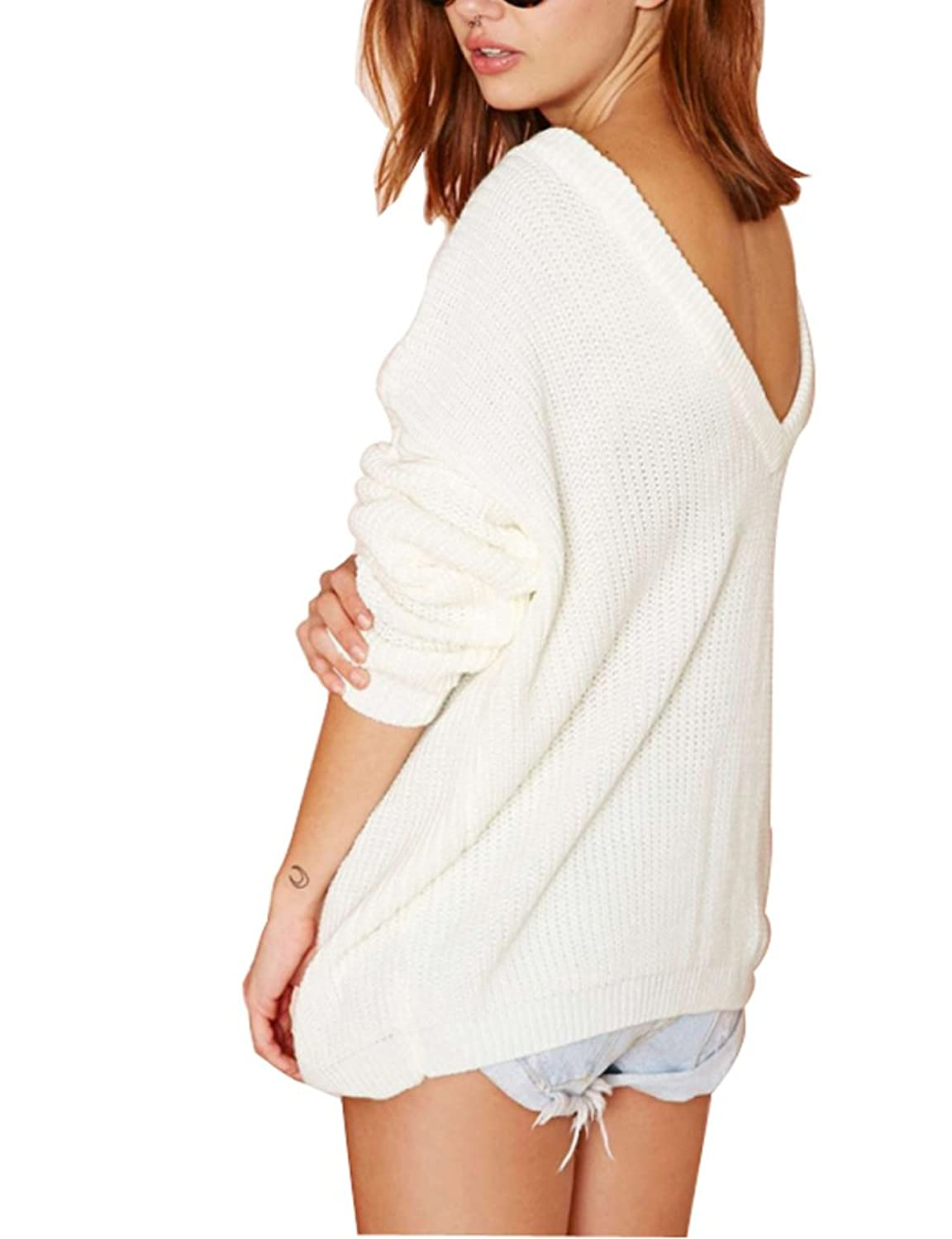 Mantos Women's Boat Neck Loose Ribbed Casual Pullover Sweater With V Back