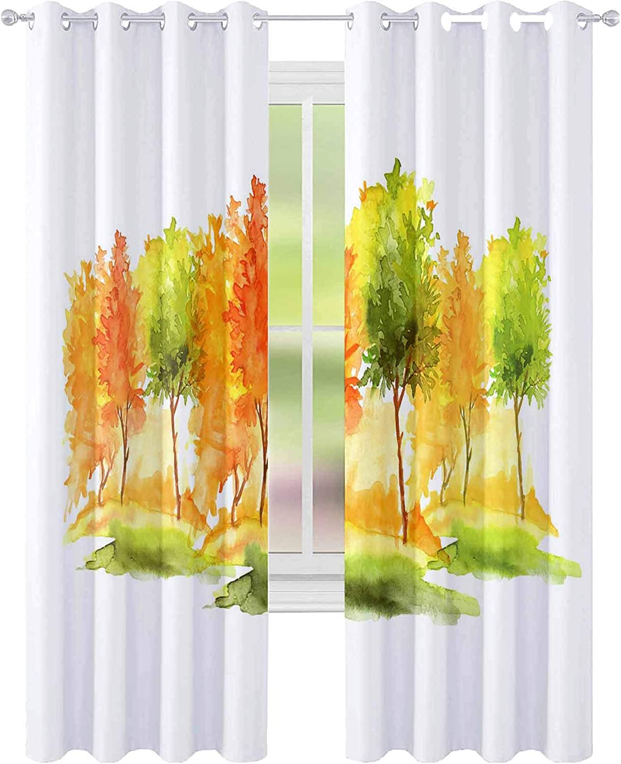 YUAZHOQI Thermal Insulated Blackout Curtain Watercolor Autumn Trees and Bushes Landscape Forests Parks Gardens Groves Isolated on White backgrou 52