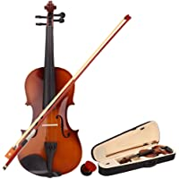 wuddi Acoustic Violin Fiddle Full Size with Bow Case Rosin for Beginner Adult Boys Girls Children (3/4 Brown)