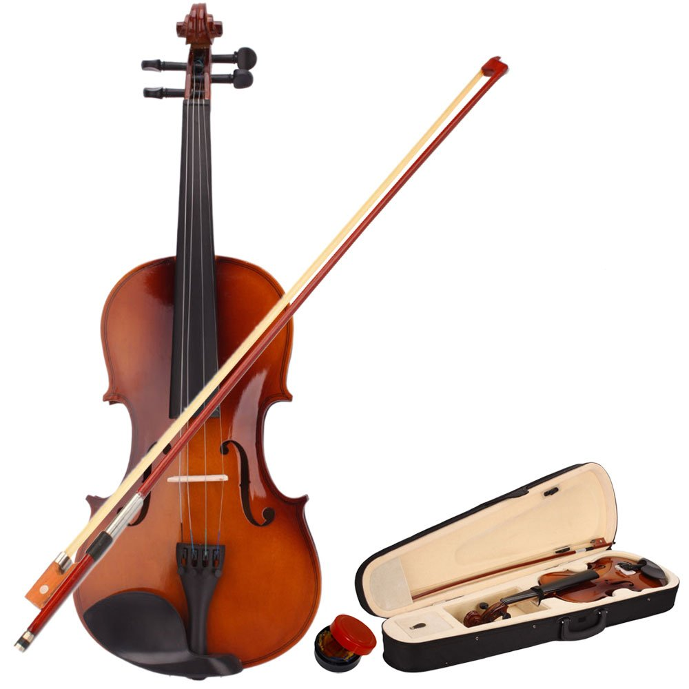 Natural Color School Basswood Acoustic Violin + Case + Bow + Rosin For Kids Xmas (1/8) by Lykos