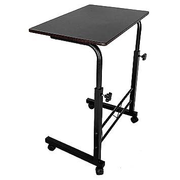 Top-vigor - Mesa de Ordenador portátil con Ruedas para Lectura, sofá, Cama (Altura Ajustable, Color marrón Oscuro): Amazon.es: Hogar