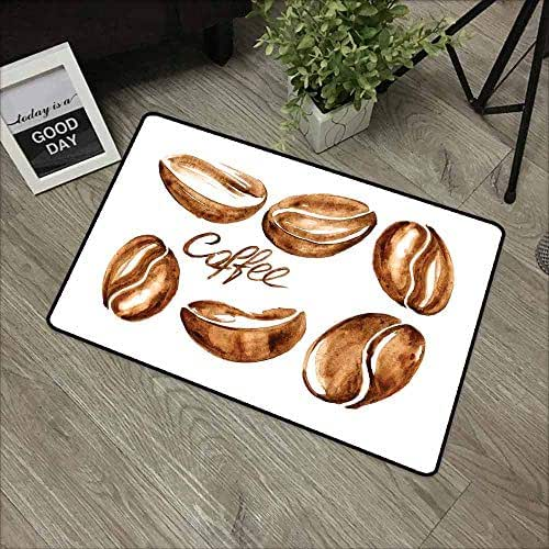 RelaxBear Coffee Commercial Grade Entrance mat Watercolor Effect Beans Breakfast Drink Brush Strokes Pattern Abstract Artistic for entrances garages patios W23.6 x L35.4 Inch Caramel White
