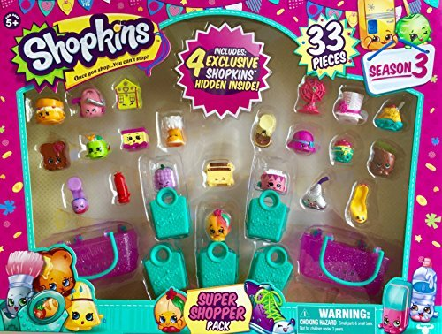 (Shopkins Season 3 Super Shopper Pack, Includes 4 Exclusive Shopkins Hidden Inside - Characters May Vary (33 Pieces))