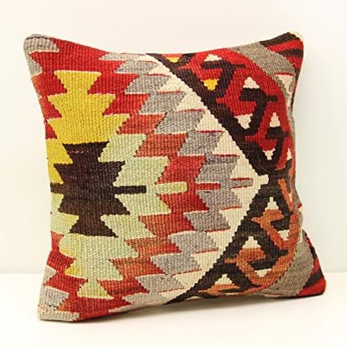 Modern Kilim Pillow : Amazon.com: Modern kilim pillow cover 14x14 Feet ( 35x35 cm) Bohemian Kilim pillow cover Turkish ...