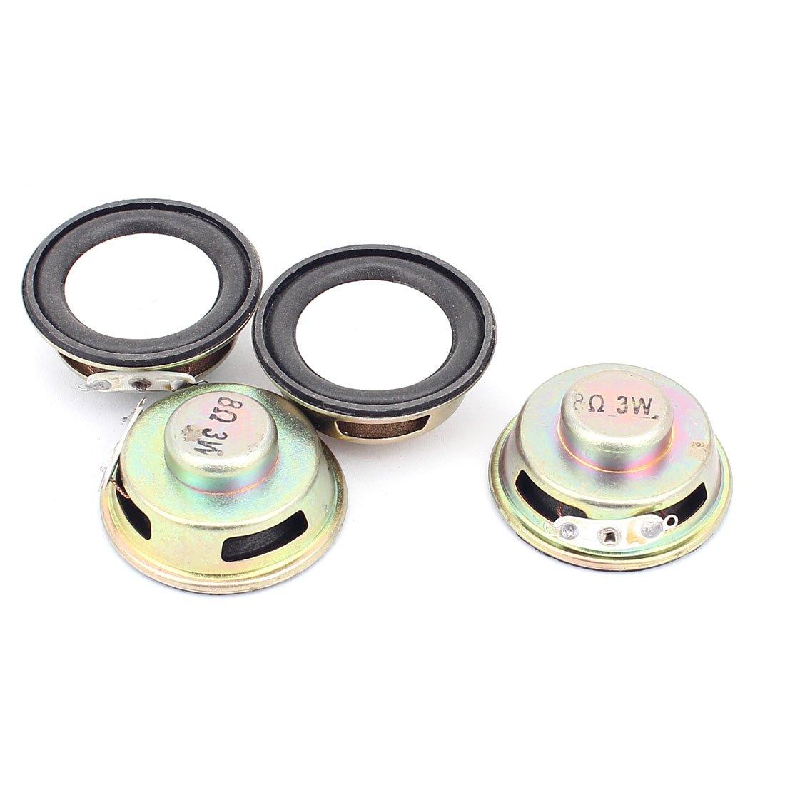 uxcell 4 Pcs 40mm 8Ohm 3W External Magnetic Speaker Loudspeaker Gold Tone