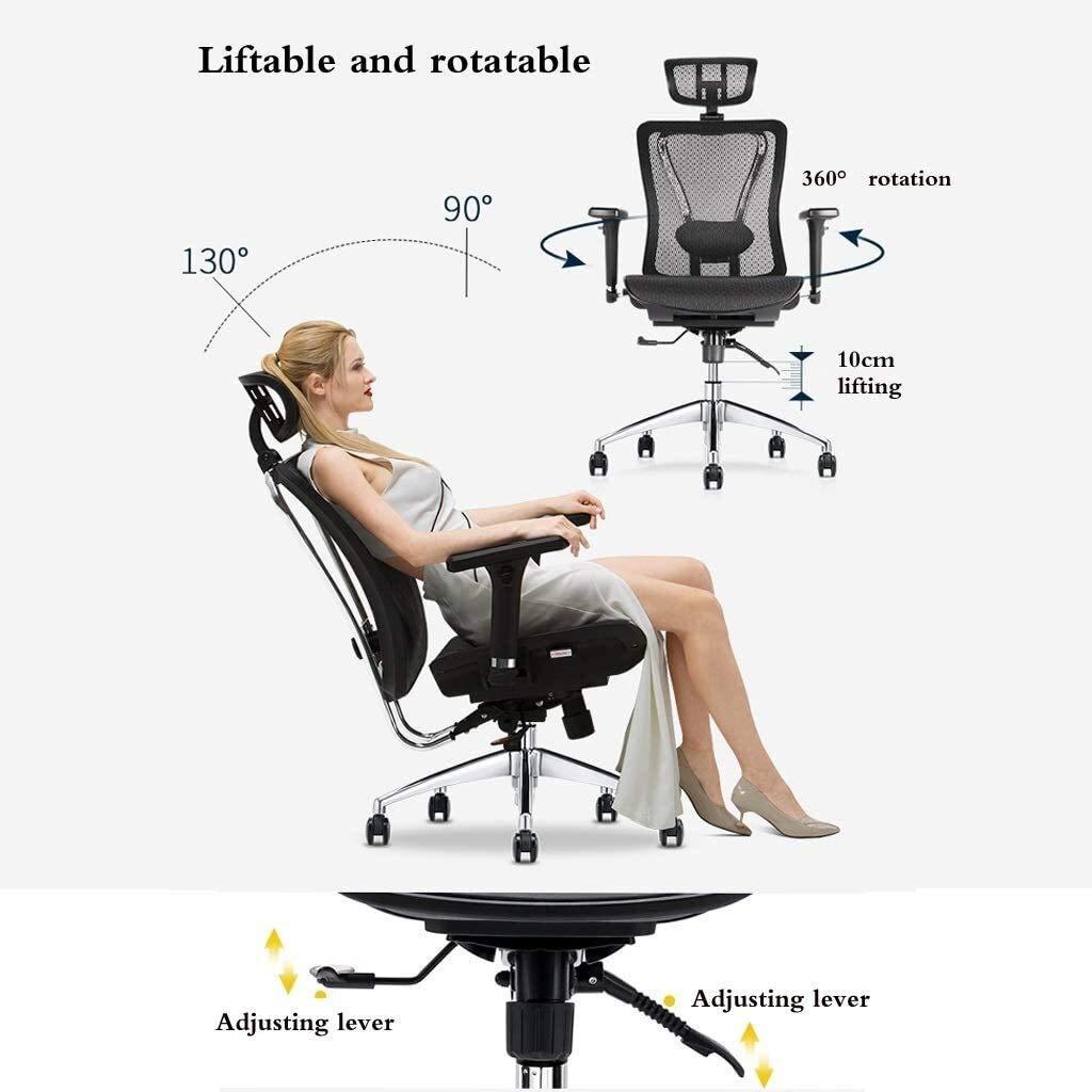 PARTAS Lämplig för stillasittande – ergonomisk designstol hem dator arbetsstol hög rygg stol roterande chef stol justerbar lat stol lyft och sänkt (färg: Vin röd) Vinrött