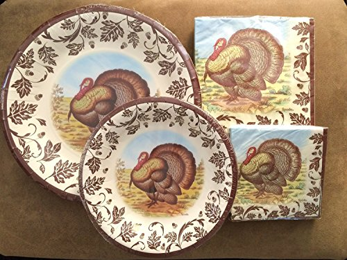 Spode/C.R. Gibson Fall Woodland Turkey Collection Disposable Paper Plate/Napkin Bundle- *Service for (Woodland Turkey Service Plate)
