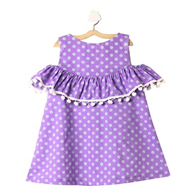 18e4bbb63b6 The KidShop Baby Girl Cotton Polka Dots Printed Cold Shoulder Casual Dress  in Purple Color for