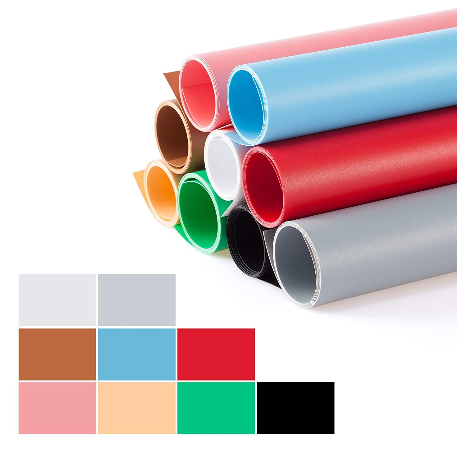 Meking 27x51inch (68x130cm) Photography Backdrop Matte PVC Background Paper Kit for Photo Video Photography Studio, 9 in 1 kit