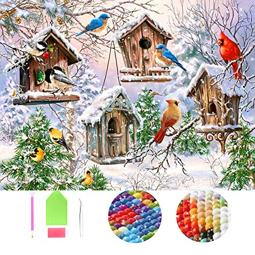 WENDING Art 5D DIY Full Square Drills Diamond Painting Kits by Number Snow Birds Landscape Picture for Adults Kids Rhinestone Embroidery Cross Stitch Mosaic Beads 30x50cm
