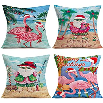 ShareJ Set of 4 Merry Christmas Beachy Greetings Quotes Decorative Pillow Covers 18x18 Inch Santa Beach Christmas Tropical Flamingo Decor Funny Throw Pillow Covers Cotton Linen Cushion Cover