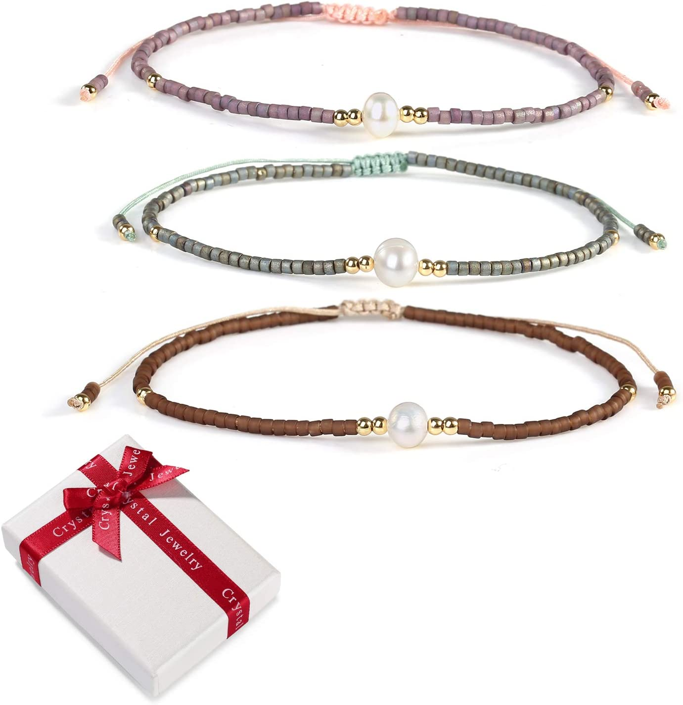 3 piezas mezcla de perlas de color Miyuki Beads Charm Bracelet Friendship Bracelets Set para mujeres Chica,Boho Elastic Ajustable Delicate Ladies Bangle Gift para mamá Mejor amiga Navidad Cumpleaños