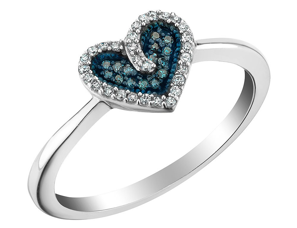 Heart White and Blue Diamond Ring 1/10 Carat (ctw) in Sterling Silver