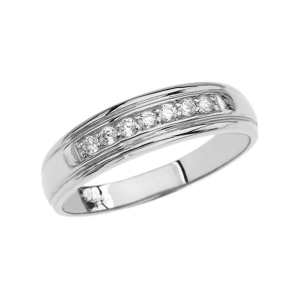 10k White Gold Diamond Mens Wedding Band