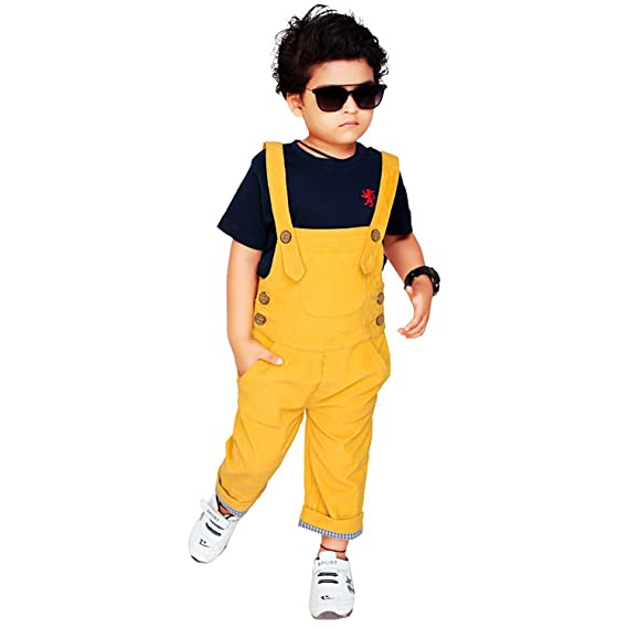 883e86b1d Olele Mustered Yellow Corduroy Dungaree For Boys