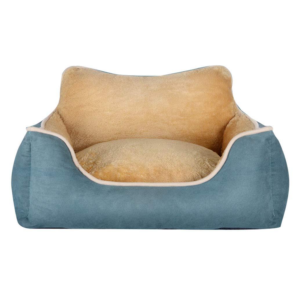 Blue L:70 *60 *22cm Blue L:70 *60 *22cm D _HOME Kennel, Remable, Pet Bed, Pet Nest, Four Seasons Universal, Pet Mat, Large /medium /little Dog, Pet Supplies, Wear /bite Resistant, Cotton (Blue, Coffee, Red)