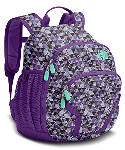 The North Face Youth Sprout Backpack Bellflower Purple Triangle Print/Bermuda Green (One Size)