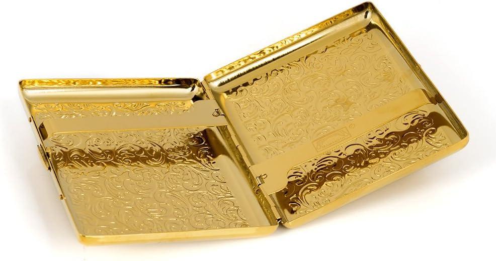 Pitillera de cobre puro con relieve Arabesco de metal dura para cigarrillos de 100 g.