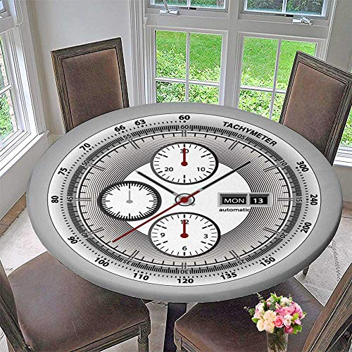(Round Polyester Tablecloth Table Cover Wrist Watch watchface with Chronograph and tachymeter White Edition Sport Watch for Most Home Decor 55