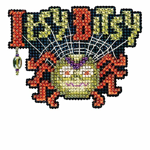 Itsy Bitsy Spider Beaded Counted Cross Stitch Halloween Ornament Kit Mill Hill 2016 Autumn Harvest -