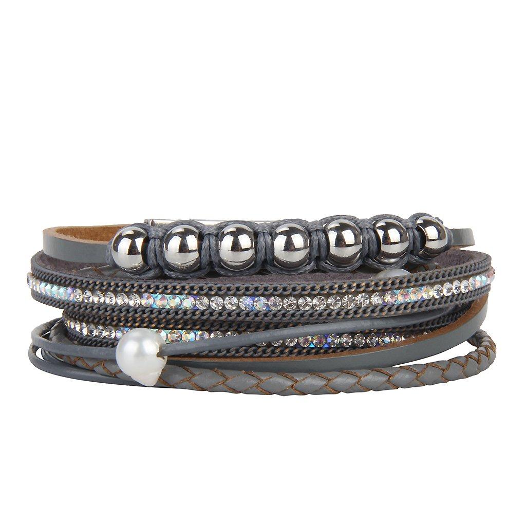 COOLLA Jewelry Fashion Women Bracelet Woven Pearls Wrap Bracelet with Magnetic Clasp (Grey Wrap Bracelet)
