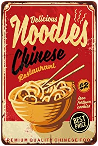 AOYEGO Noodle Tin Sign,Graphic Chinese Food Wave Fresh Bowl Striped Chopsticks Restaurant Vintage Metal Tin Signs for Cafes Bars Pubs Shop Wall Decorative Funny Retro Signs for Men Women 8x12 Inch