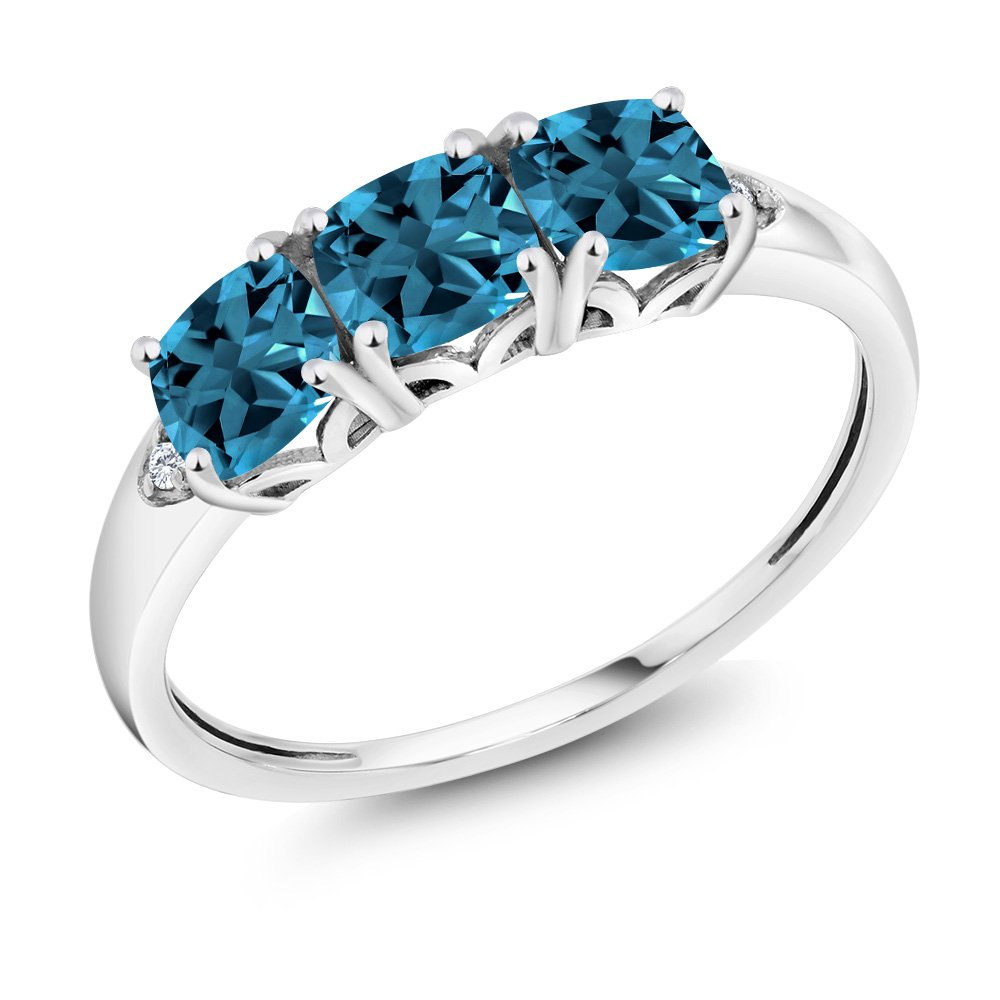 10K White Gold 1.96 Ct Cushion London Blue Topaz and Diamond 3-Stone Ring (Available in size 5, 6, 7, 8, 9)