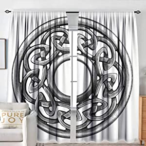 """NUOMANAN Decor Waterproof Curtains Celtic,Royal Style Circular Celtic Pattern Graphic Print Metal Brooch Design Scottish Shield,Silver,Blackout Draperies for Bedroom Living Room 84""""x100"""""""