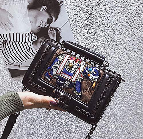 Chica Casual Vintage Hombro Etnico Fiesta Bolsos Otoño Moda Bandolera Pequeños Marron Invierno Quilted de Mujer Vestir Juveniles Piel Negro Bolso Mishuo Bordado 6WTqawzz
