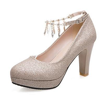 8e62aa7d694e7 CHNHIRA Women's Summer Bright Court Shoes Block High Heel Metal Chain Tassel
