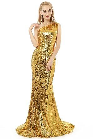 e31ca3075bd Women s Gorgeous One Shoulder Sequin Mermaid Evening Dress Long Formal  Party Dress Gold UK26