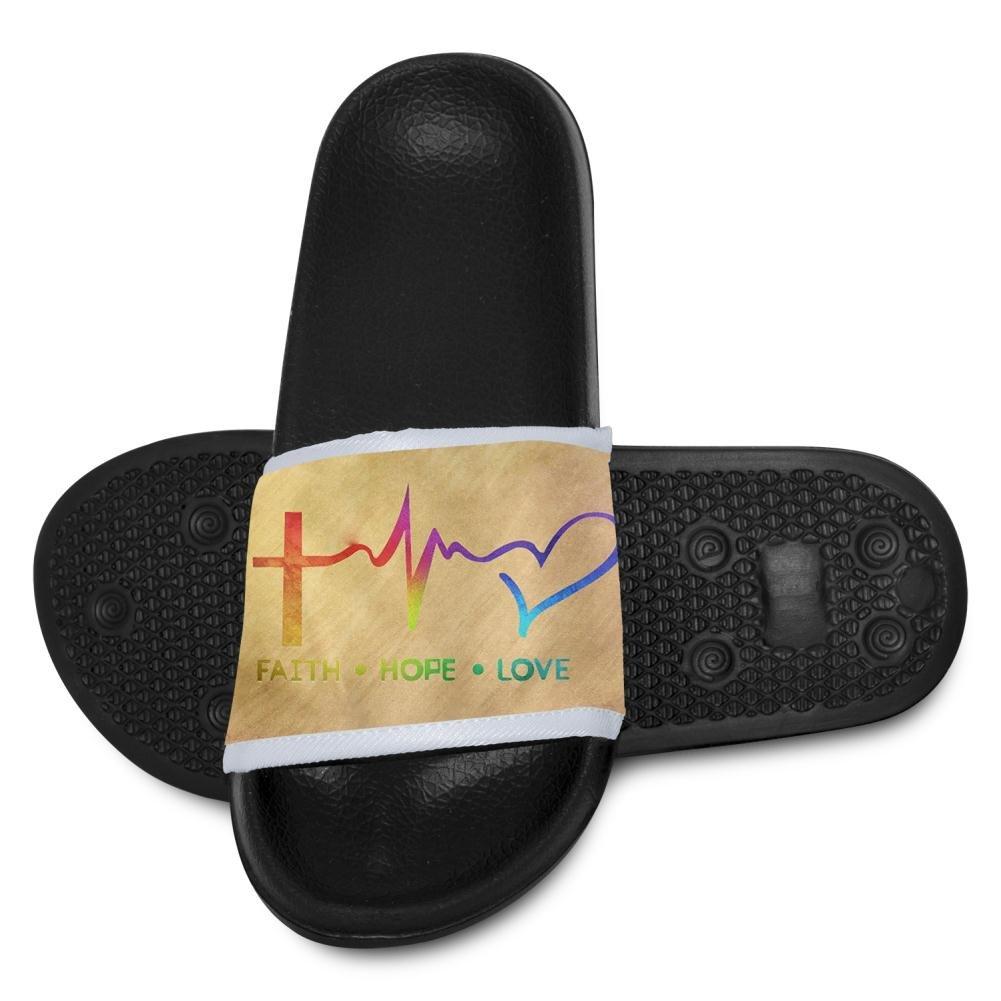 EPENG Faith Hope Love Christian Kids Soft Casual Slide Sandals Anti-Slip Slippers Shoes 8 B(M) US little Kid