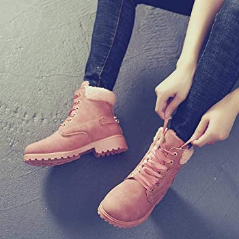 a12f533835719 Hunzed Women【Casual Velvet Shoes Snow Booties】 Solid Lace Up Ankle Round  Toe Winter Shoes