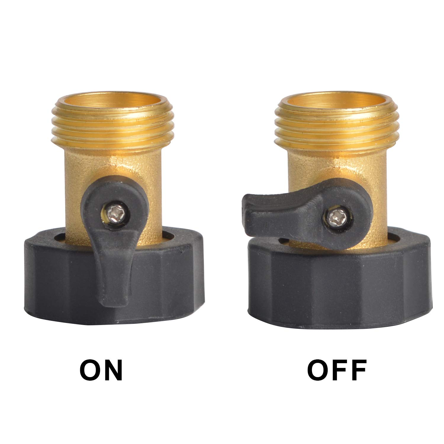 "HYDRO MASTER 3/4"" NH Heavy Duty Brass Shut Off Valves/Garden Hose Connectors with Extra Rubber Seals (2 Pack)"