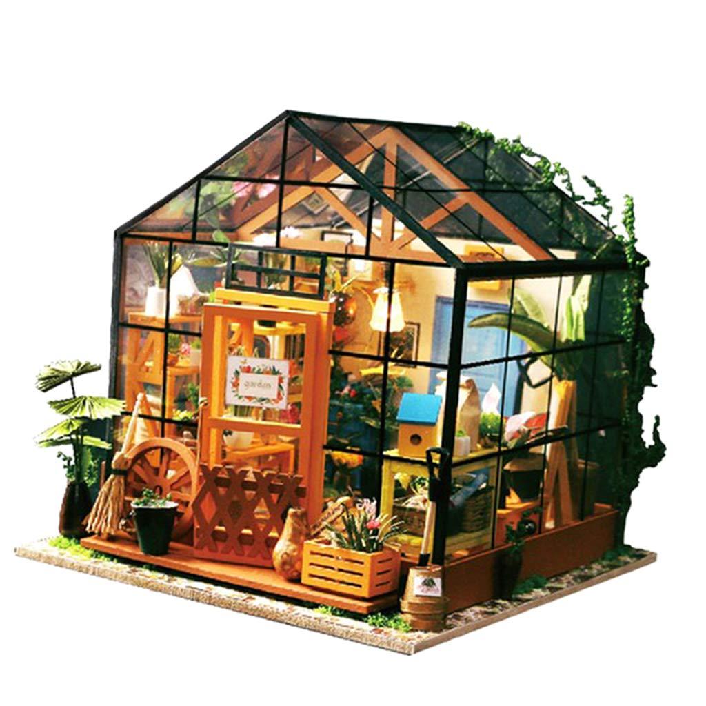 Baoblaze 1 24 Dollhouse Miniature DIY Prince Doll House Kits Greenhouse Kids Toys