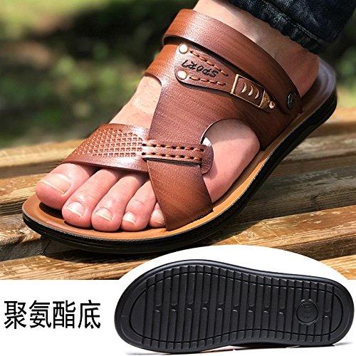 Xing Lin Sandalias De Hombre Los Hombres Sandalias De Cuero Auténtico Calzado De Playa De Verano Casual Coreano Zapatillas Antideslizante Dichotomanthes Abajo Brown 1