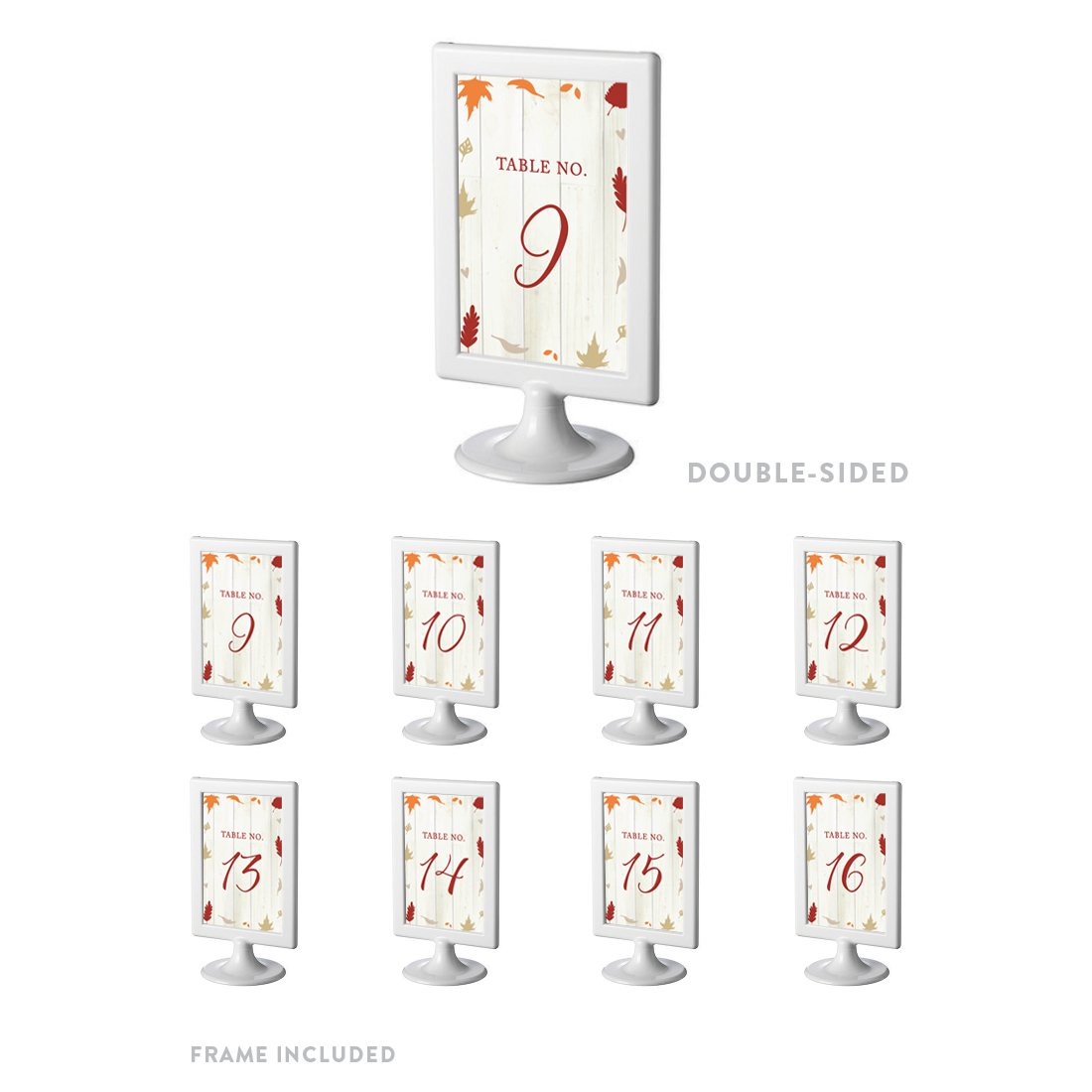 Andaz Press Fallin' in Love Autumn Fall Leaves Wedding Party Collection, Framed Table Numbers 9 - 16 on Perforated Paper, Double-Sided, 4 x 6-inch, 1 Set, Includes Frames