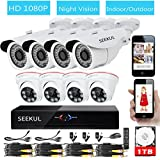 SEEKUL 8 CH DVR 1080P 2.0MP Bullet Outdoor Dome Indoor Night Vision Video Surveillance CCTV Security Camera System 1TB HDD