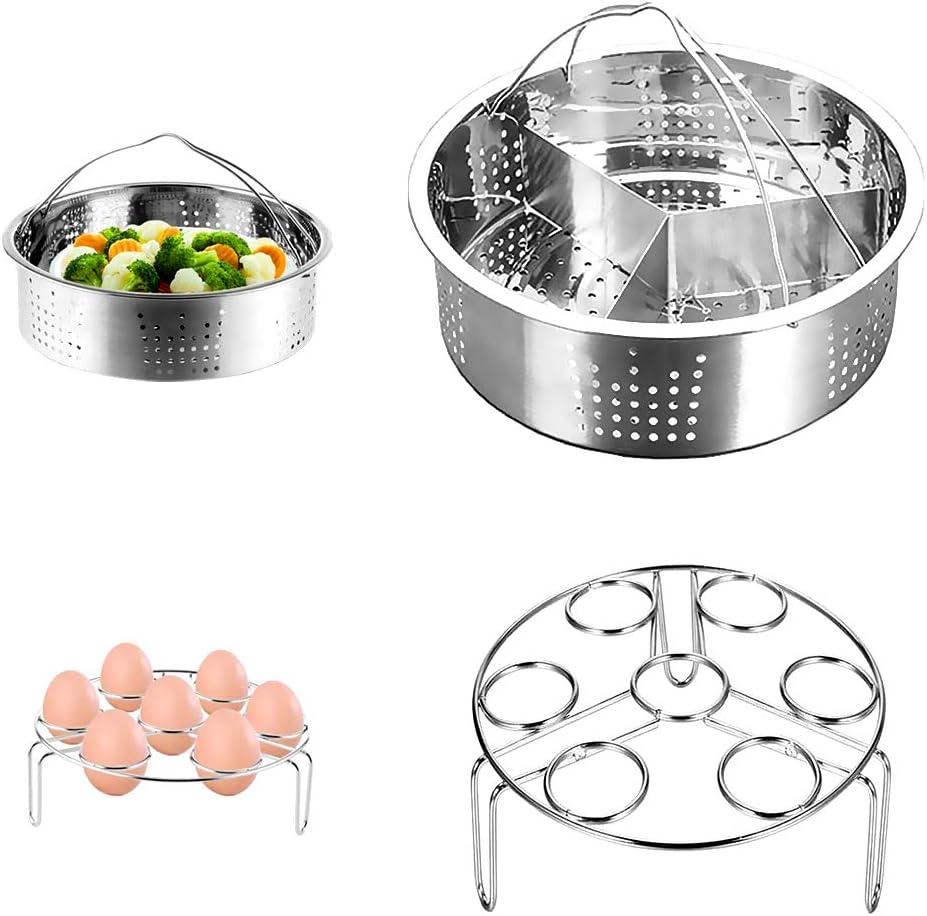 CestMall Instant Pot Accessories, 3 Piezas Cesta de Vapor con Estante para cocinar Huevos al Vapor, Separador, se Adapta a Olla de presión instantánea de 5,6,8 Cuartos de galón, Acero Inoxidable