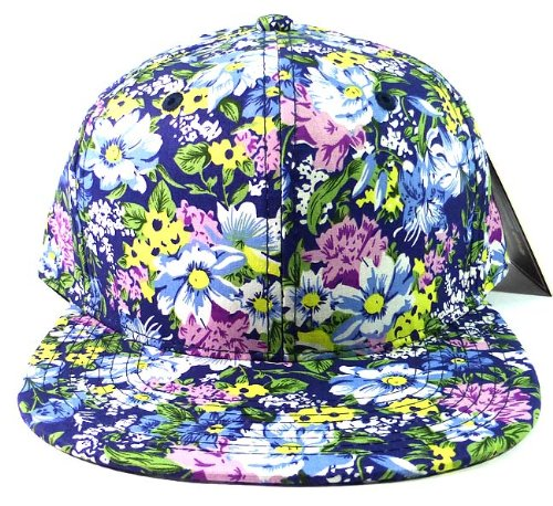 Blank Floral Snapback Hats Caps Fashion - Blue Flowers (Swix Mens Beanie)