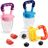 Biubee 3 PCS Baby Food Feeder, Silicone Fresh Fruit Feeder, Nibbler Teether Food Mesh for Infant & Toddlers Feeding and Teething