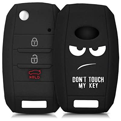 kwmobile Car Key Cover Compatible with Kia 3-4 Button Car Key - Silicone Protective Key Fob Cover - Don't Touch My Key White/Black: Automotive